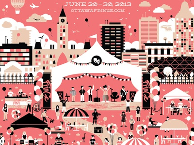 Ottawa Fringe Festival Poster 2013 beer canada convention centre university of ottawa st. ambroise fringe ottawa theatre festival poster tent parliament city cityscape performance stage daniel alfredsson merchandise vector illustrator balloon party stars sky opening night buildings