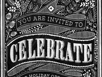 Teknision Holiday Open House Illustration chalkboard illustration typography christmas holiday floral scroll banner party invitation celebration ottawa