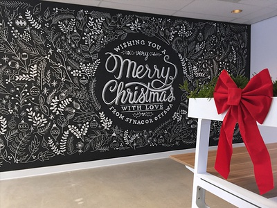 Merry Christmas Chalkboard Wall chalkboard illustration christmas wall floral holly holiday merry typography lettering office ottawa