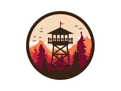 Lookout Tower firewatch patch birds sky trees lookout tower illustration retro warm