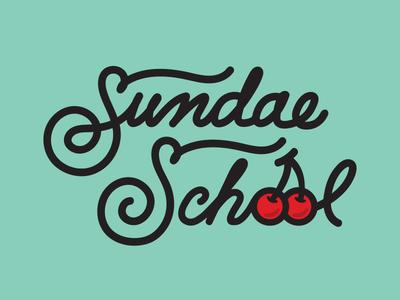 Sundae School hand drawn type logo brand lettering script cherries ice cream shop sundae