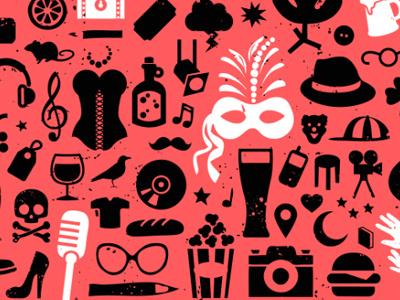 Ottawa Fringe Festival Poster 2012 event poster illustration ottawa theatre festival vector fringe shakespeare brush masquerade summer glasses beer fedora popcorn microphone corset lingerie camera burger skull heel shoe