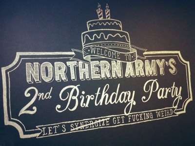 Northern Army's 2nd Birthday Party Chalkboard Illustration weird layer banner scroll illustration hand rendered northern army birthday party cake candles chalkboard chalk typography type wall mural synergy