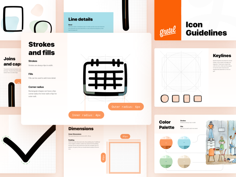 Guidelines - Gretel illustration events chat me admin backpack team connect communication sketch pastel paint blob icon-set dashboard waterpaint blobs guidelines icons