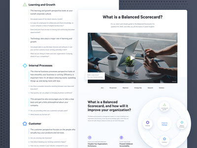 What is a Balanced Scorecard? - Spider Strategies site blue branding design web webdesign process product page infographic website ux ui explainer corporate