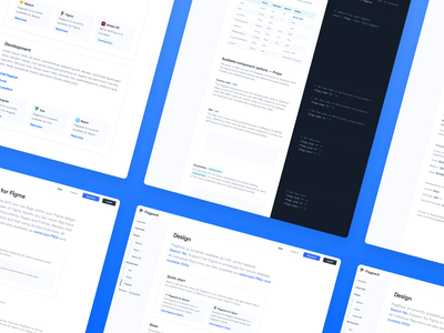 Flagpack Docs pages blue flagpack text ui flags developer framework article website code docs documentation