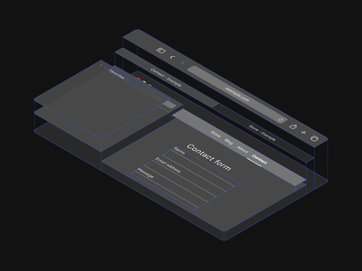 Grouped navigation illustration design simple app navigation explainer infographic illustration dark ui cards layers isometric browser safari ui