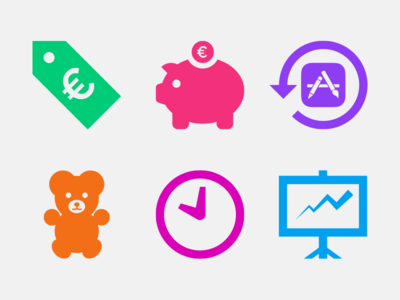 iCulture icons update apple icons iculture blue green colorful teddy bear price tag presentation purple brown pink