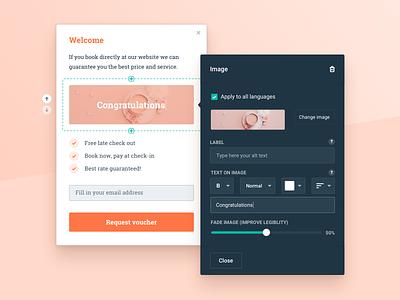 Component Editor - Hotelchamp dark builder wysiwyg website editor card tool component