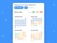 Date Picker Flow - FindHotel ui blue app book hotel motion animation months days calendar range picker flow select date