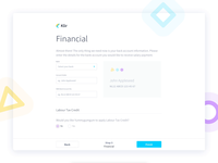 HR Management Employee Onboarding - Klir simple salary tax process shapes card animation motion interaction user flow form payment credit card financial payroll webapp app onboarding hr