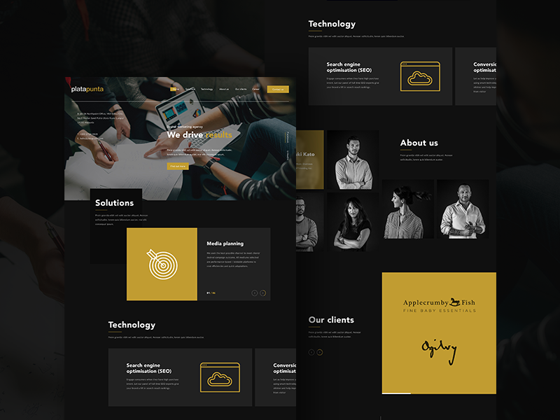 Platapunta Landing Page malaysia black dark gold agency ux ui design website web