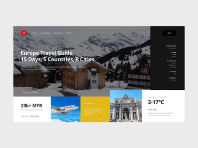 Europe Travel Guide guide travel europe landing homepage malaysia website web ux ui interface