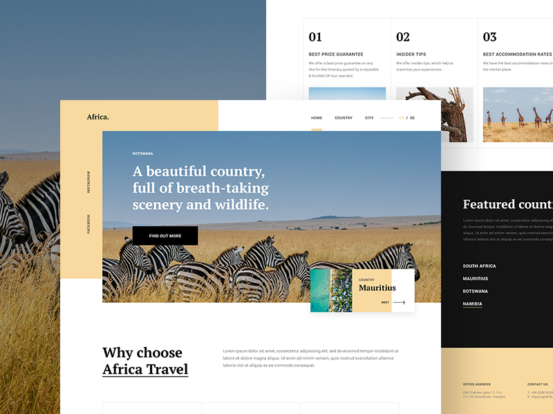 Africa Travel Guide WIP guide travel africa landing homepage malaysia website web ux ui interface