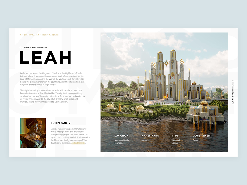 Shannara Chronicles typography layout grid tv series clean ui interface shannara chronicles leah
