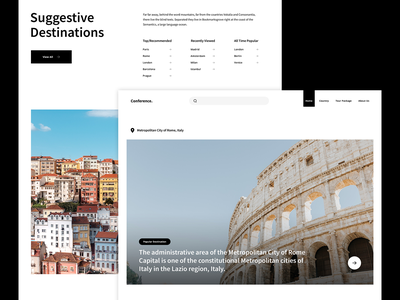 Conference Travel minimal homepage interface landing simplicity clean website web ux design ui