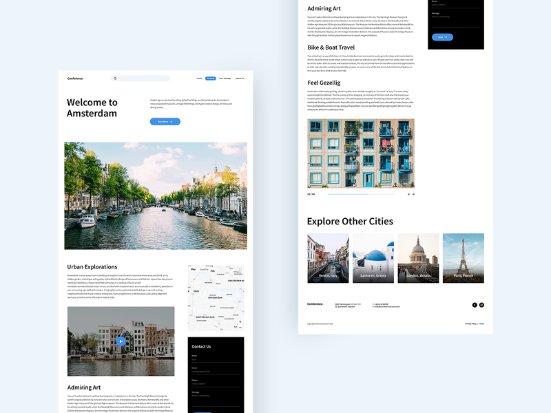 City page city guide clean amsterdam city web interface website design ux ui