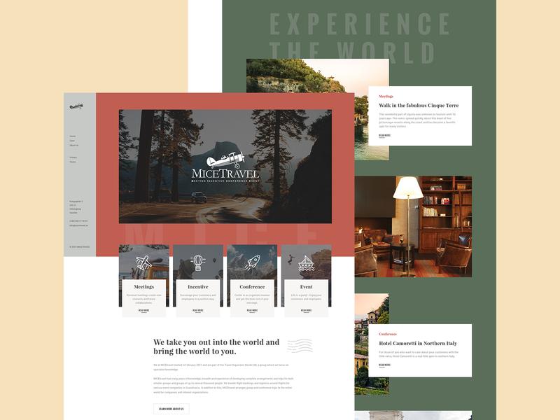 Micetravel grass sand wood leather beige green earth scandinavia travel homepage landing interface website design ui