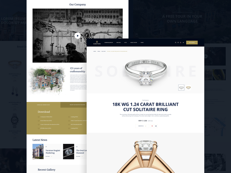 Royal Coster Diamonds Website netherlands royal diamonds website web design ux ui