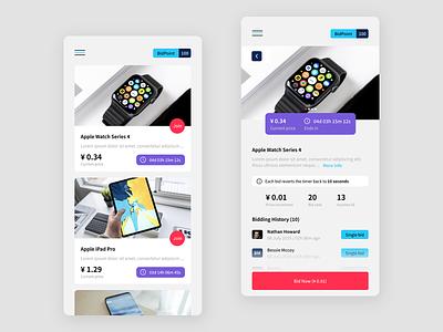 Bidding UI product app auction bid auctions marketplace clean malaysia design ui mobile bidding