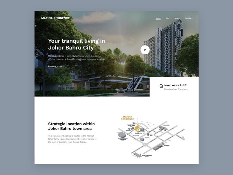 Marina Residence Landing Concept minimal landing homepage clean website design ui malaysia