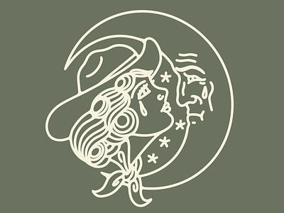 Sad Cowgirl cowgirl texas tattoo logo vector drawing design illustration