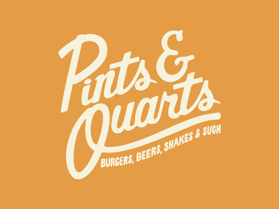 Pints & Quarts Logo type drawing design illustration logo