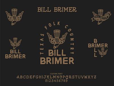 Bill Brimer Logo Sheet texas vector design illustration font text tattoo type hand drawn bird logo musician music band