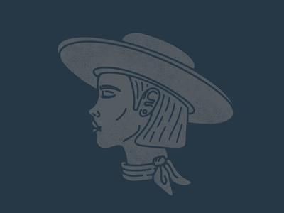 Cowgirl Profile vector drawing design illustration texas desert western girl cute bandana hat side cowgirl