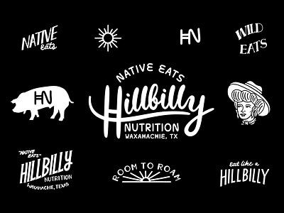 Hillbilly Nutrition Logo Sheet text hand drawn type farm western texas hillbilly branding logo vector drawing design illustration