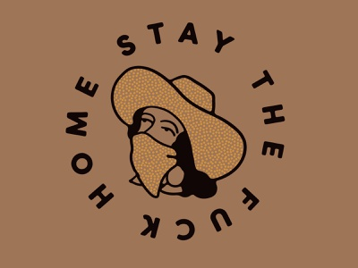 Stay Home western type texas vector drawing design illustration cowgirl social distance quarantine