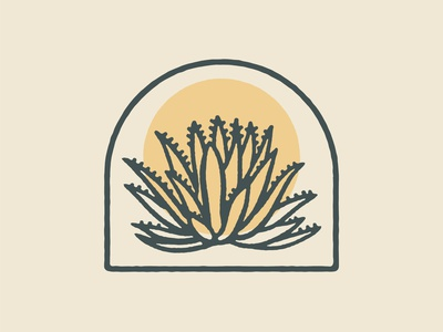 Agave Print plant west california mexico arizona southwestern texas logo vector drawing illustration design western desert agave