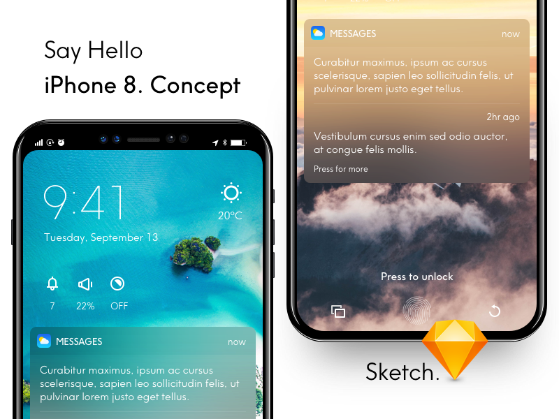 Iphone 8 Concept Mockup ios 12 iphone 8