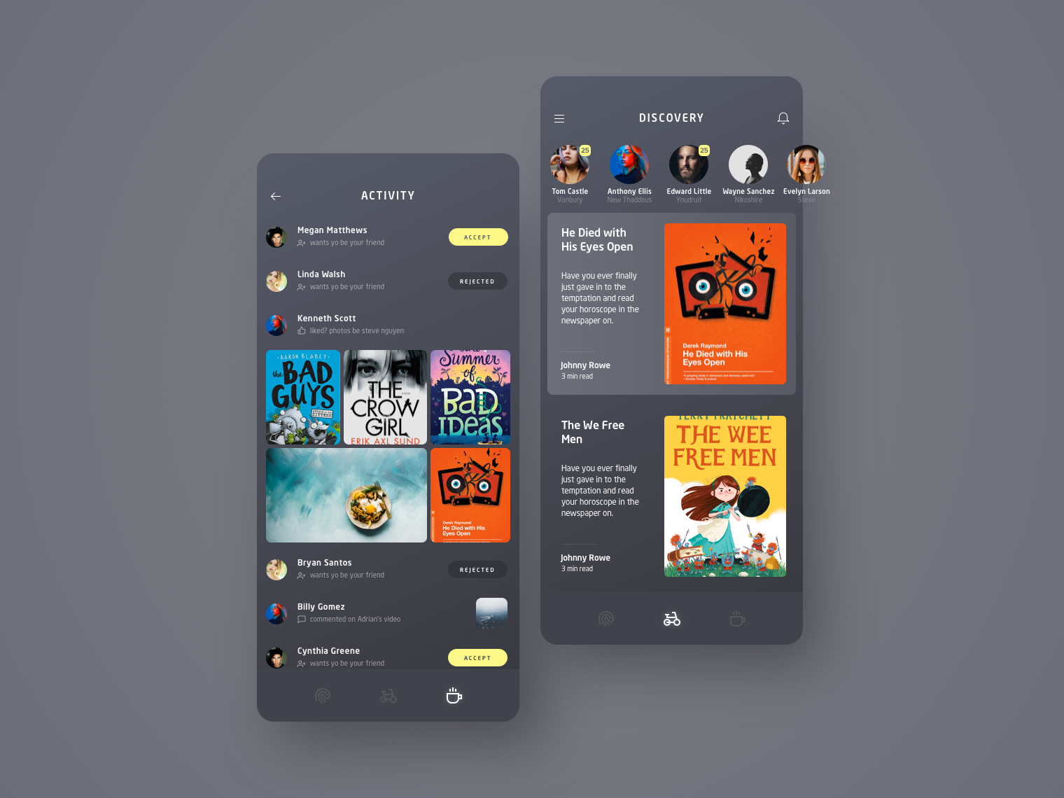 Taste Of Books activity discovery books ui kit ux sketch ui
