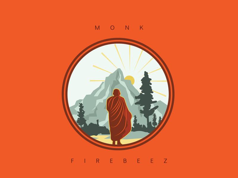 Monk Yatra chinesemonk chinese budha monk branding vector poster design art illustrator concept illustration blackonewhitegk firebeez