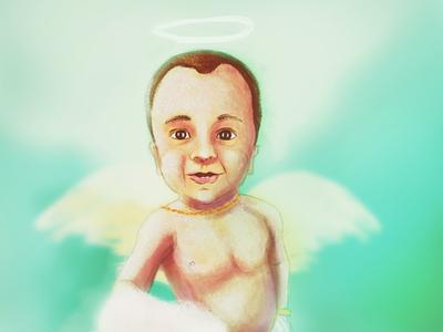 Angel baby boy concept digital painting