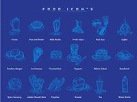 Restaurant food icons illustration