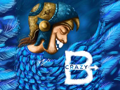 Crazy B Concept Character Digital Art crazy poster character characterdesign art concept blackonewhitegk firebeez