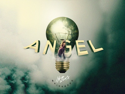 """Angel in a Bulb"" Concept Photoshop Manipulation angel photomanipulation poster photoshop art concept blackonewhitegk firebeez"