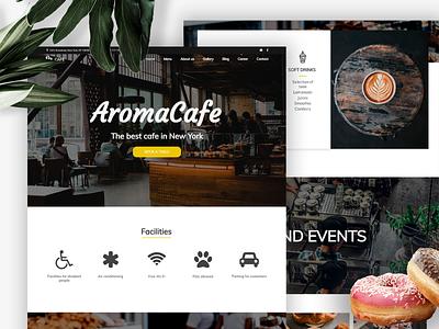 AromaGafe Cafe website design cafe webwave templatedesign template ui nocode website builder website design webdesign