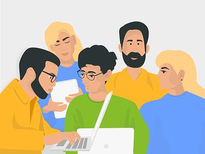 Team Page Illustration WebWave team ilustrator software communication web design hero design website creator illustraion team work