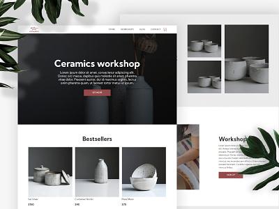 Ceramic workshop website design template design template shop online ecommerce pottery workshop ceramic website builder website design webdesign