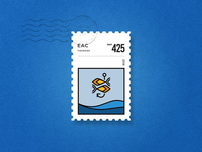 EAC Stamp- Fisheries illustration typography logomark logo identity branding