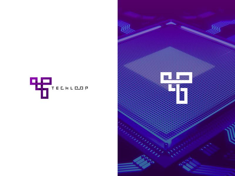 Techloop geometric line identity minimal logomark logo branding