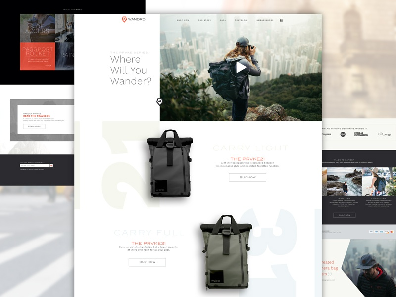 WANDRD Homepage art direction photography product ecommerce web design homepage