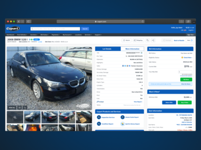 Lot Details 2.0 auto copart website ux ui design ui