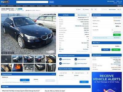 Lot Details 2.0 auto copart website ux ui design ui