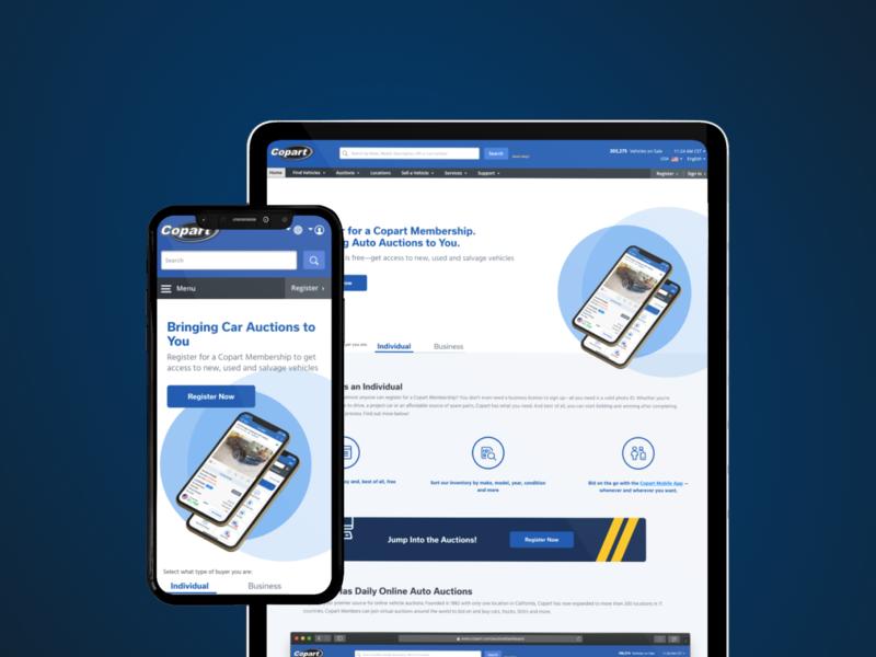 Membership landing page landing page auto responsive mobile ux website copart