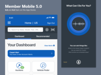 Member Mobile 5.0 voice search dashboard auto auction mobile app ui ux ios