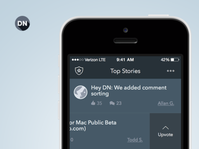 Designer News Homescreen designer news ios app iphone mobile ui